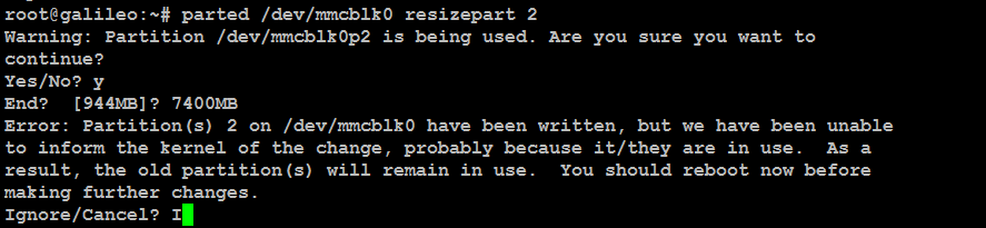 # parted /dev/mmcblk0 resizepart 2