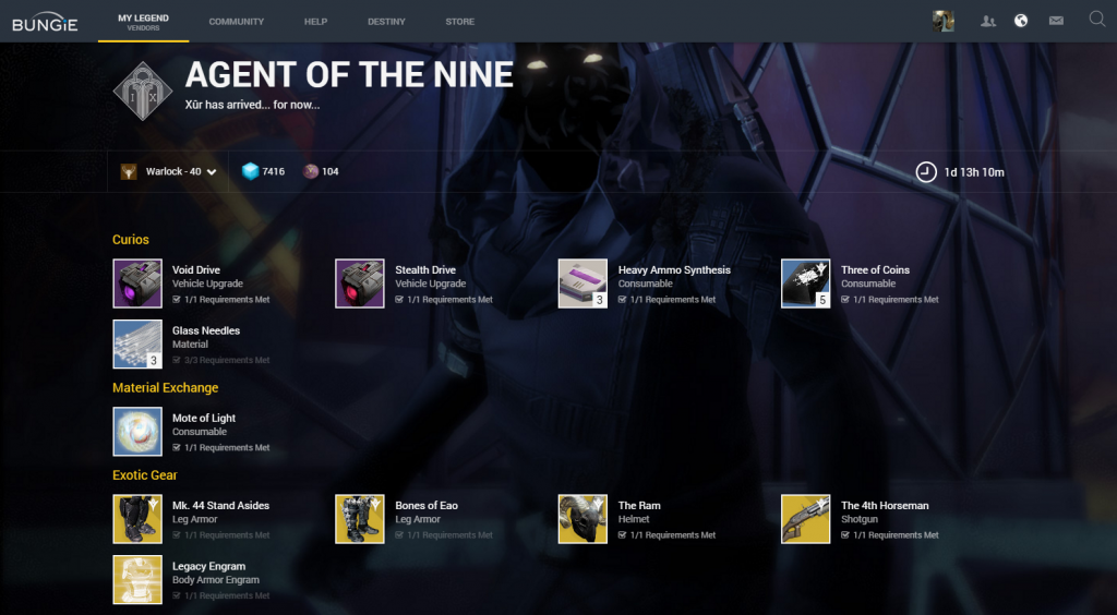 Xurs inventory, taken from the Bungie.net vendors page.