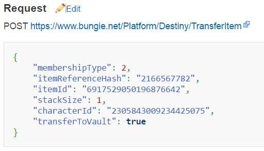 This is the BungieNetPlatform example for the transferItem POST payload