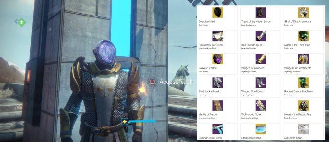 Destiny: Read your vault contents.