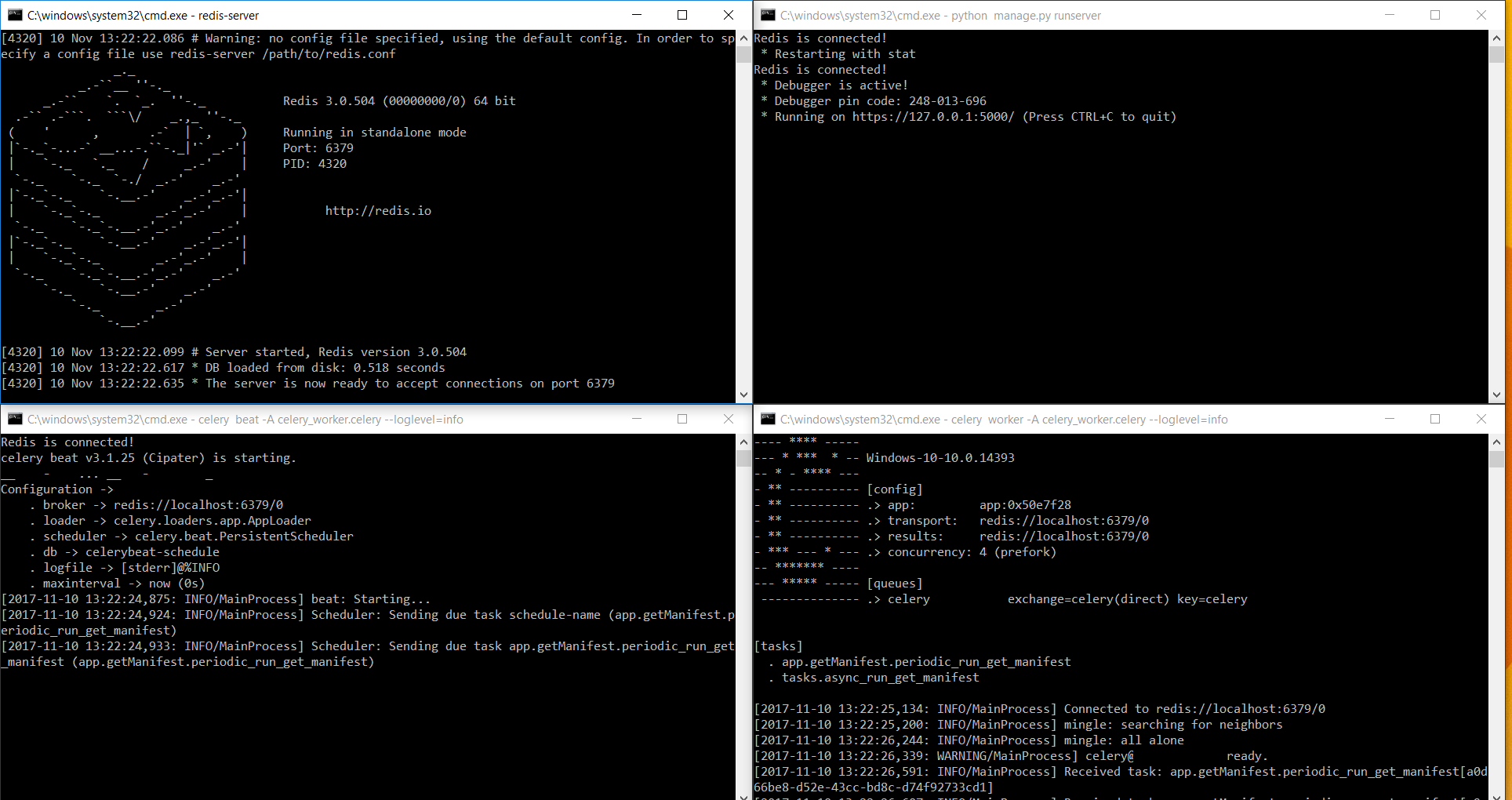 Redis server, Celery workers and Flask server started.